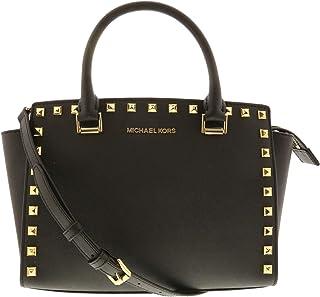 c8487b982a87 Michael Kors Women s Selma Stud Medium Top Zip Leather Satchel Top-Handle  Bag