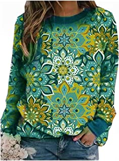 HEFASDM Womens Blouse Pullover Printed Fall Winter Vintage Pocket Top