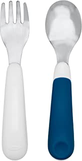 OXO Tot On-The-Go Fork/ Spoon Set With Carrying Case, White/Navy