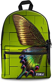 FOR U DESIGNS Big Girls' Maple Leaf Print Casual Campus School Book Bag Pack Medium Gold Butterfly