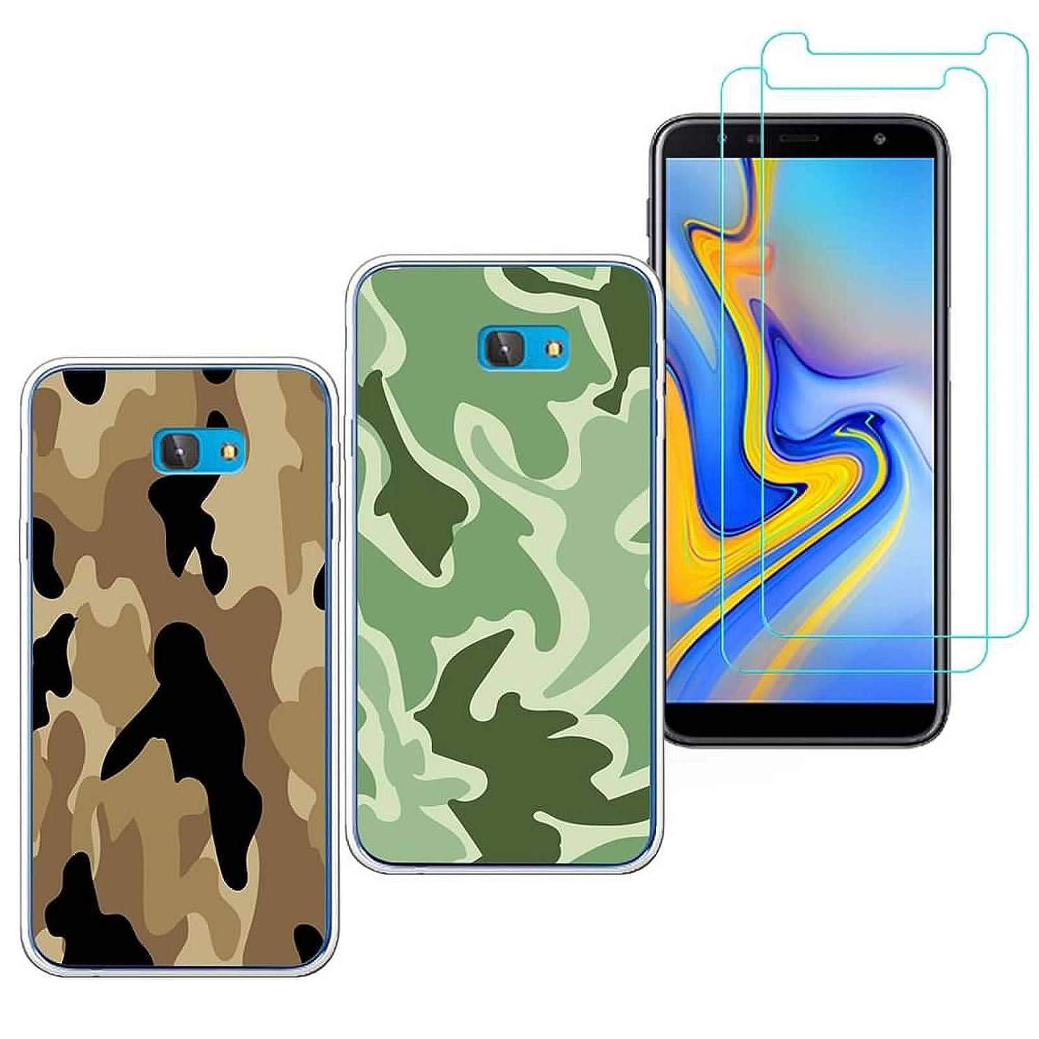 2 X Samsung Galaxy J7 / J7 Prime Case with 2 Pack Glass Screen Protector Phone Case Clear Soft TPU with Protective Bumper Cover Case for Samsung Galaxy J7 Sky Pro Case / J7 Perx (2017)