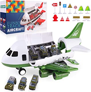 SHANNA Cars Toys, Take Apart Transport Cargo Car Airplane Toys for Boys Girls 3 Year Old and Above with 6 Toy Car and One Toy Plane - Police Car Toys for Boys with Road Sign - Army Green