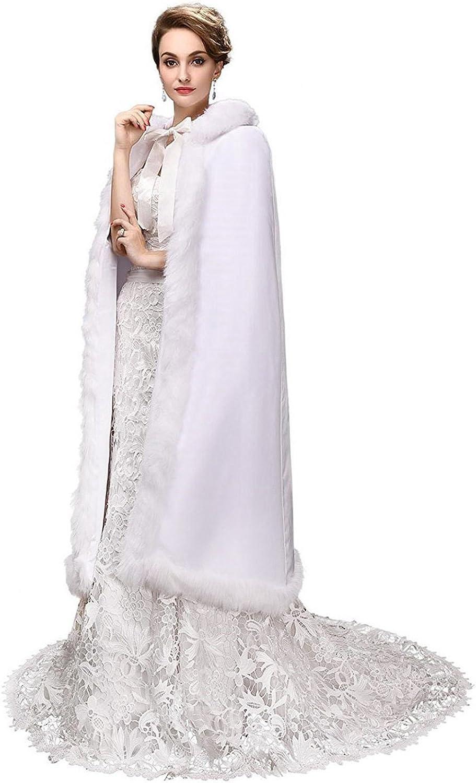 EllieHouse Women's Long Wedding Hooded Cape Winter Bridal Cloak PF04