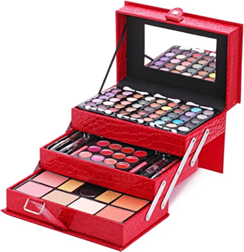Maùve Professional Leather Train Case with Mirror Makeup Kit (Eyeshadow, Blushes, Powder, Lipstick & More) Holiday Ex...