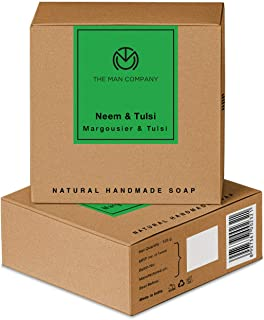 The Man Company Natural Premium Neem & Tulsi Soap - Set of 2   Made in India