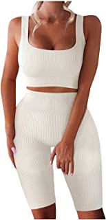 Womens Yoga Outfits Workout Sets,2PCS U-Neck Tank Top + High Waist Shorts Set,Crop Tops+Gym Shorts Sets,Seamless Sportswea...