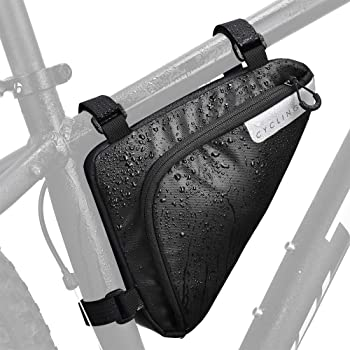 WOTOW Bike Storage Frame Bag, Bicycle Front Tube Triangle Water Resistant Cycling Pack Strap On Saddle Pouch Bike Accessories Tool accessible Storage Bag for Road Mountain Cycling