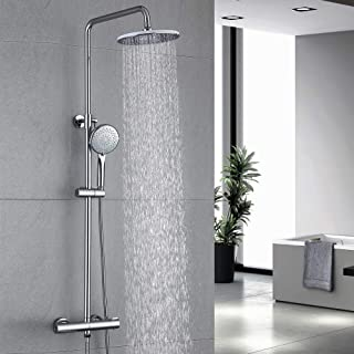 HOMELODY Columna de Ducha Termostatica 40ºC Conjunto de ducha Redondo Altura 829mm-1221mm Ducha de Lluvia 3 Tipos Ducha de...