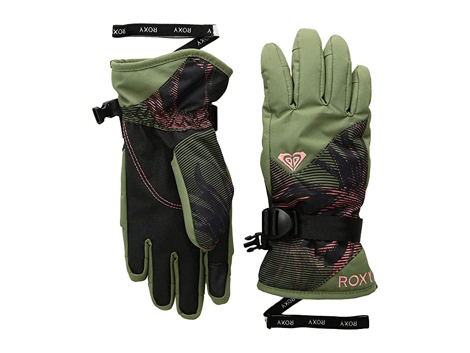 Roxy Kids Jerry Gloves (Little Kids/Big Kids) (True Black/Swell Flowers) Extreme Cold Weather Gloves