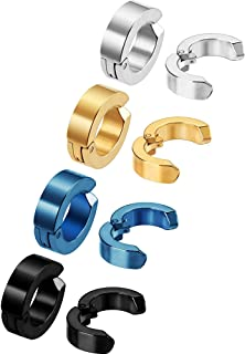 Mudder 8 Pieces Non-piercing Earrings Ear Clip Fake Ear Hoops for Men and Women, Stainless Steel, 4 Colors