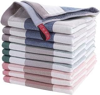 AKASKARI ハンドタオル タオル 吸水力抜群 9枚セット 綿100% 柔らかい 重さ約45g/枚 サイズ34*34cm (マルチカラー, ハンドタオル)