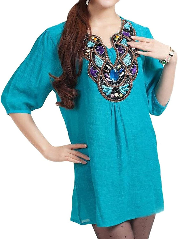Kafeimali Women's Casual Embroidery Bohemian Cotton Tops Shirt Tunic Blouse Apparel