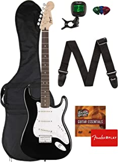 Fender Squier Bullet Stratocaster Hard Tail Guitar - Laurel Fingerboard, Black Bundle with Gig Bag, Tuner, Strap, Picks, and Austin Bazaar Instructional DVD