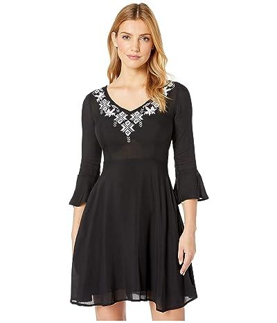 Stetson 8175 Solid Black Rayon Swing Dress (Black) Women