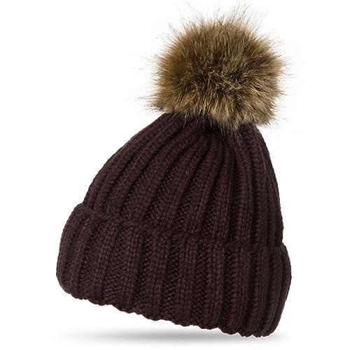 45b0cec1f31 CASPAR Womens Winter Rib Knitted Hat Beanie with Chunky Faux Fur Bobble Pom  Pom -