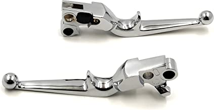 HTTMT MT241-021-CD Chrome Hand Levers Compatible with Harley Fxdl Dyna Low Rider Flhr Road King Ultra And Touring