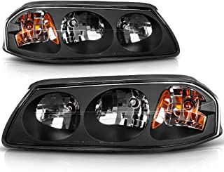 For 2000-2005 Chevy Impala Headlights Replacement Black Housing Amber Reflector Clear Lens