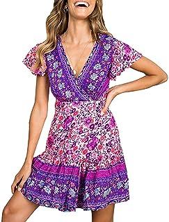 Twinklady Women's Summer Wrap V Neck A Line Dress Boho Floral Print Ruffle Beach Mini Dress Run Small