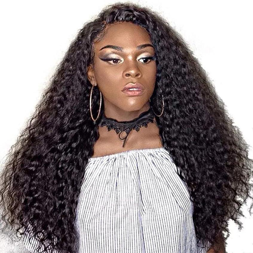ジョブ正当な面白いYrattary 女性の長い巻き毛の微量爆発ヘッドかつら黒人女性ナチュラルブラックカラー複合ヘアレースかつらロールプレイングかつら (色 : 黒)