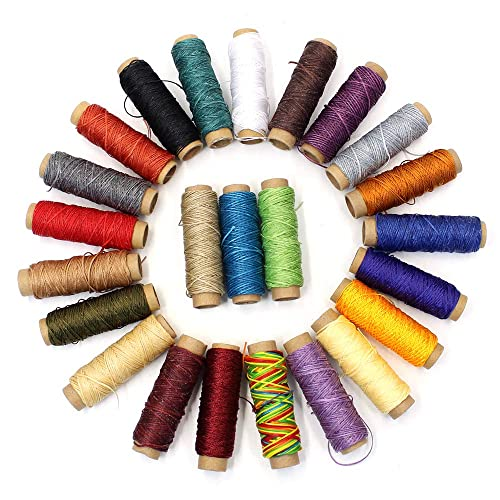 and 7 Hand Stitching Hand Sewing and Book 24 Colors Thread for Leather,17 Waxed