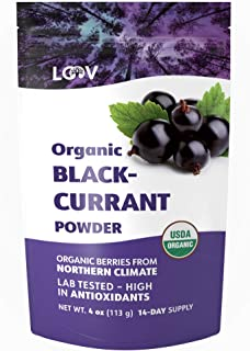 Blackcurrant Powder Organic, Rich in Anthocyanin and Vitamin C, Made from 100% Whole Blackcurrants, Freeze Dried, 4 oz, Raw, Grown in Northern Europe, 14-day Supply, USDA/EU Certified Organic