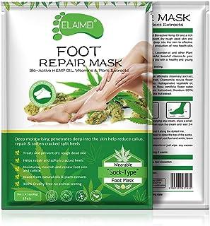 Mascarilla hidratante para pies, calcetines hidratantes para talones secos, envejecidos, agrietados, aceite de semilla HEMP Mascarilla de crema reparadora de pieles (paquete de 3)