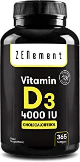 Vitamina D3 4000 UI, 365 Perlas | Vitamina D Natural (Colecalciferol) | con Aceite de Oliva Virgen Extra | 1 Año de sumini...