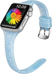 Getino Glitter Band Compatible with Apple Watch 40mm 38mm for Women Girls Soft Breathable Slim Durable Shiny Bling Sport Band for iWatch SE & Series 6 & Series 5 4 3 2 1, Shiny Blue, S/M