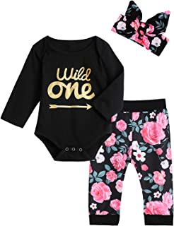Baby Girls Wild One Outfit Set Birthday Floral Tops Pant...