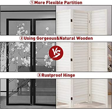 Esright 6 Panel Wood Room Divider, 5.6 Ft Tall Folding Privacy Screen Room Divider, Freestanding Partition Wall Dividers for
