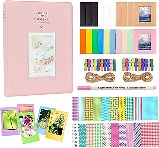 Anter Photo Album Accesorios para Fujifilm Instax Mini Camera HP Sprocket Polaroid Zip Snap Snap Touch Impresora Films con Film Stickers Album & Frame (128 Pocket Pink C)