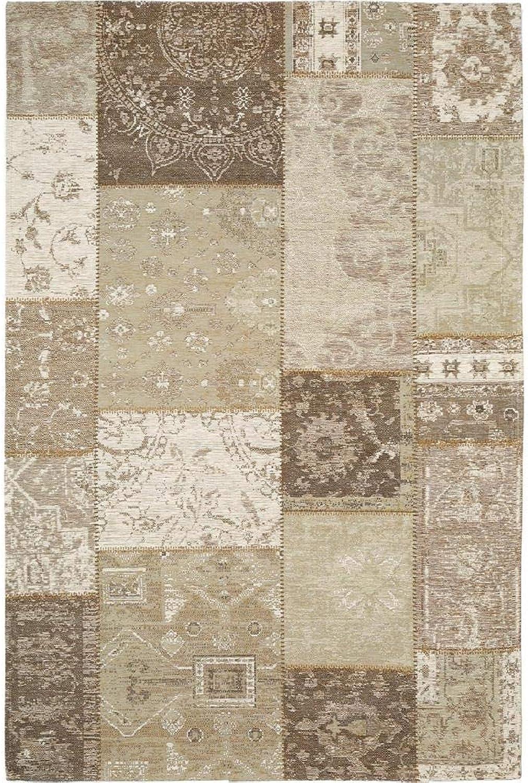 Benuta Flachgewebe Teppich Frencie Patchwork Beige 100x160 cm Pflegeleichter Teppich für Flur und Andere Wohnrume