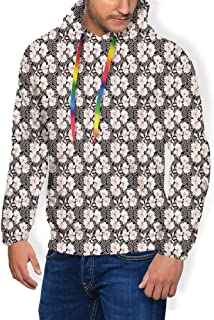 GULTMEE Men's Hoodies Sweatershirt, Blossoming Theme Floral Design Folkloric Botany Pattern,5 Size