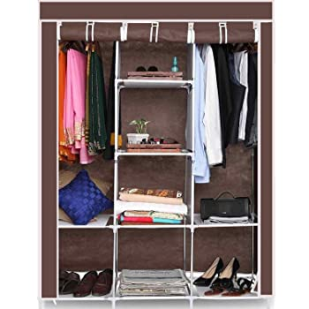 GTC 6+2 Layer Fancy and Portable Foldable Collapsible Closet/Cabinet (Need to Be Assembled) (88130) (Brown)