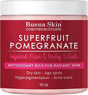 Pomegranate Brightening Face & Body Scrub - Renews Your Skin's Youthful Radiance | Great For Dry Skin, Age Spots, Hyperpigmentation, Acne Flare-Ups and Acne Scars 10oz By Buena Skin