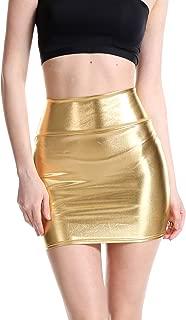 Jollymoda Women's Shiny Metallic Liquid Wet Look Mini Skirt