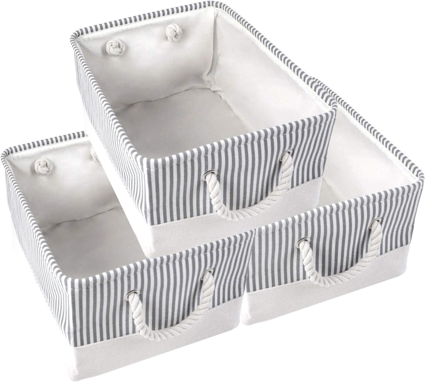 ANMINY 3PCS Storage Baskets Set Max 61% OFF B Foldable unisex Canvas Stripe