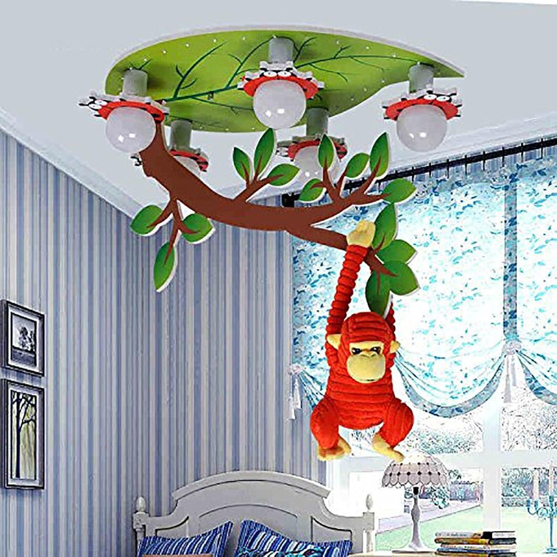 LXSEHN Einfache Kreative LED Karikatur Affe Deckenleuchte, Augenschutz Schlafzimmer Jungen Und Mdchen Kinderzimmer Kindergarten Leuchte Deckenbeleuchtung Laternen Laternen (Farbe   Warmes Licht)