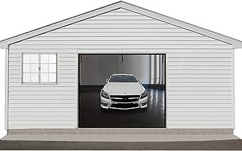 Garage Screen Door 12x7ft, Single Garage Door Screen for 1 Car with Hook and Loop Durable Fiberglass Garage Screen Mesh Curtain with Heavy Duty