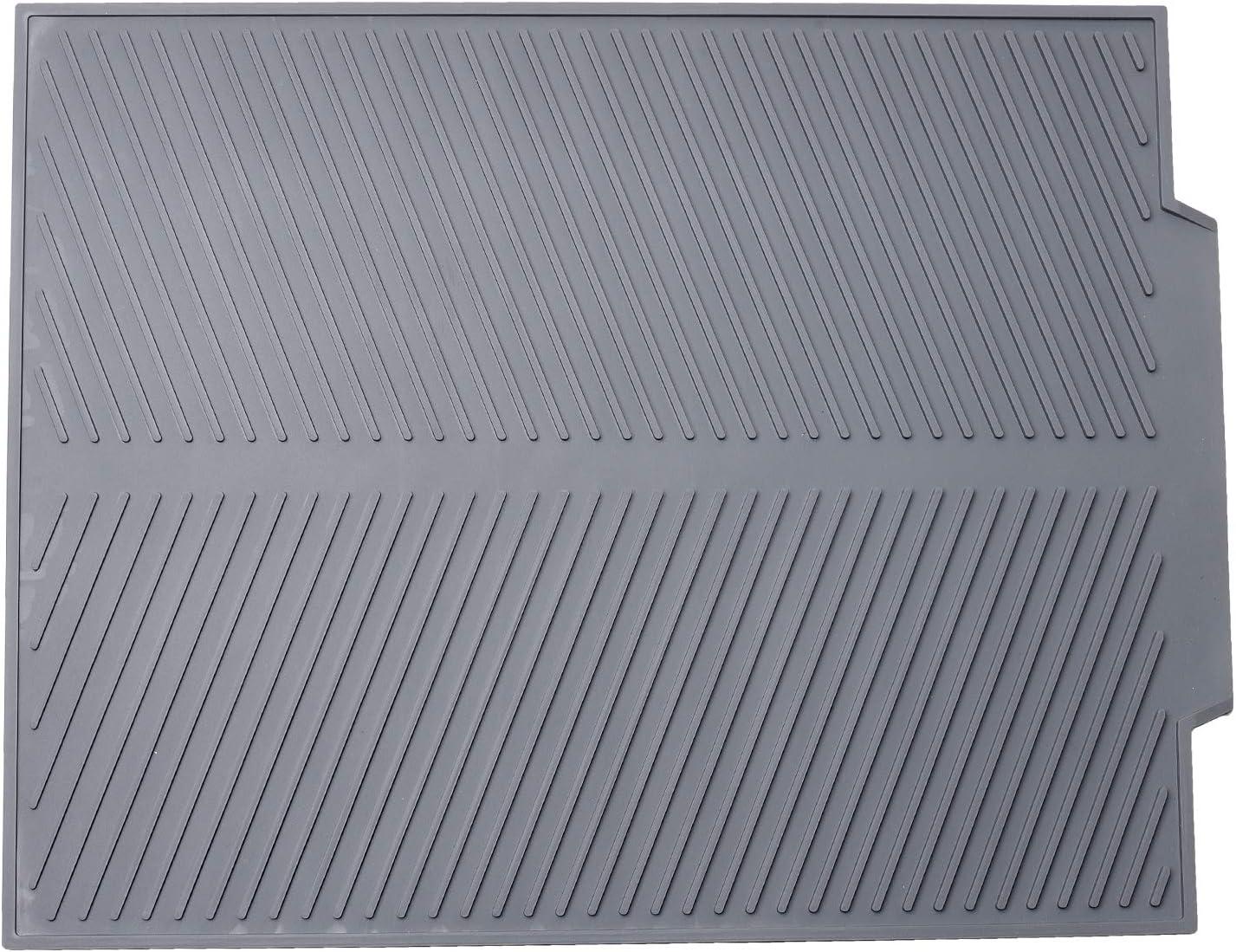 Alfombrilla Escurreplatos Silicona, Tapete Microfibra de Cocina Grande de poliéster y Microfibra para un Secado de Platos Rápido Gris 44 x 33cm x 0.6cm