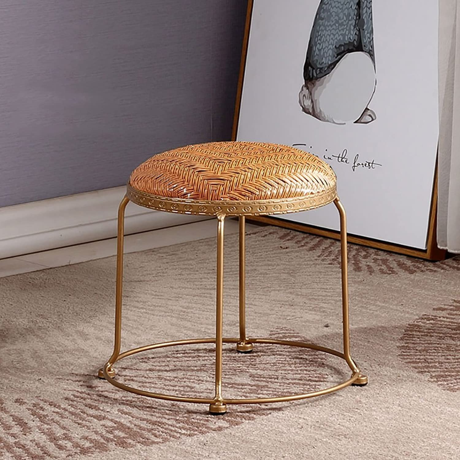 AIDELAI Bar Stool Chair- Fashion Rattan Stool Rattan Stool Home Dining Stool Rattan Rattan Rattan Stool Dining Chair Bread Stool Leisure Stool Saddle Seat (color   D, Size   30  30cm)
