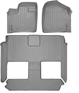 MAXLINER Floor Mats 3 Row Liner Set Grey for 2008-2018 Dodge Grand Caravan / Chrysler Town & Country (Stow'n Go Only)