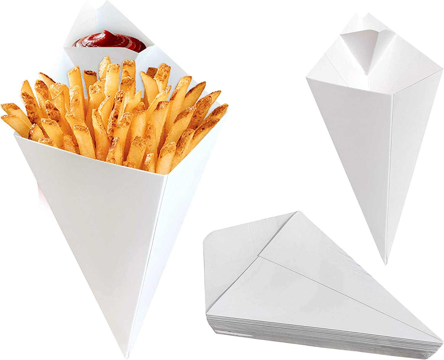 25 pcs Food Cones with Dip Pocket, Kraft Paper French Fries Cones with Dipping Sauce Compartment. (White)