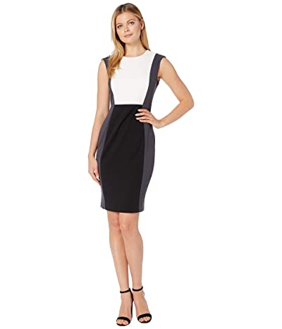 Calvin Klein Color Block Sheath Dress (Black/Cream/Charcoal) Women