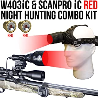 Wicked Lights W403iC & ScanPro iC RED Night Hunting Light and Headlamp Combo Pack for Predator, varmint & Hog Hunting