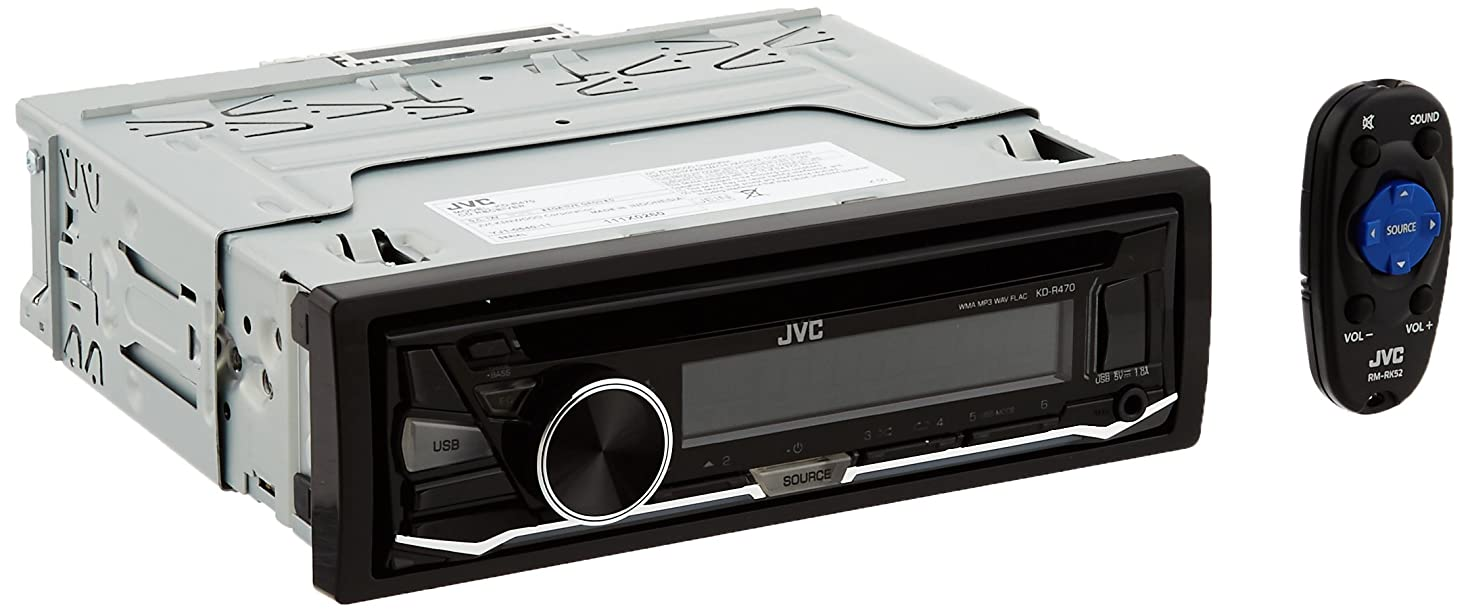 JVC KD-R470 Single DIN in-Dash CD/AM/FM/Receiver w/Detachable Faceplate, Front USB and 3.5mm Auxiliary Input