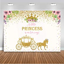Mocsicka Gold Carriage Baby Shower Backdrop 7x5ft Vinyl Little Princess Gold Dots Baby Shower Photo Backdrops Gold Crown Floral Baby Shower Party Photography Background