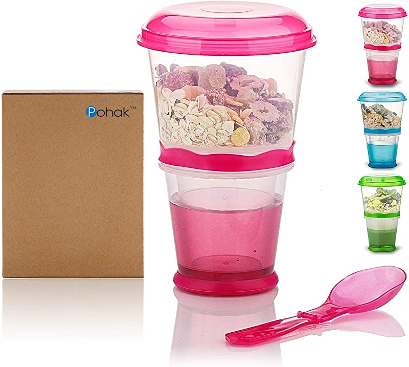 Cereal On The Go Cups Breakfast Drink Cups Portable Yogurt And Cereal To Go Container Cup Rose Red