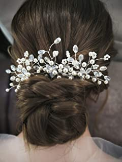Aegenacess Wedding Hair Bobby Pins Crystal Decorative Flowers Prom Floral Bridal Hair Clips Pin Bun Accessories for Brides and Bridesmaids Women and Girls