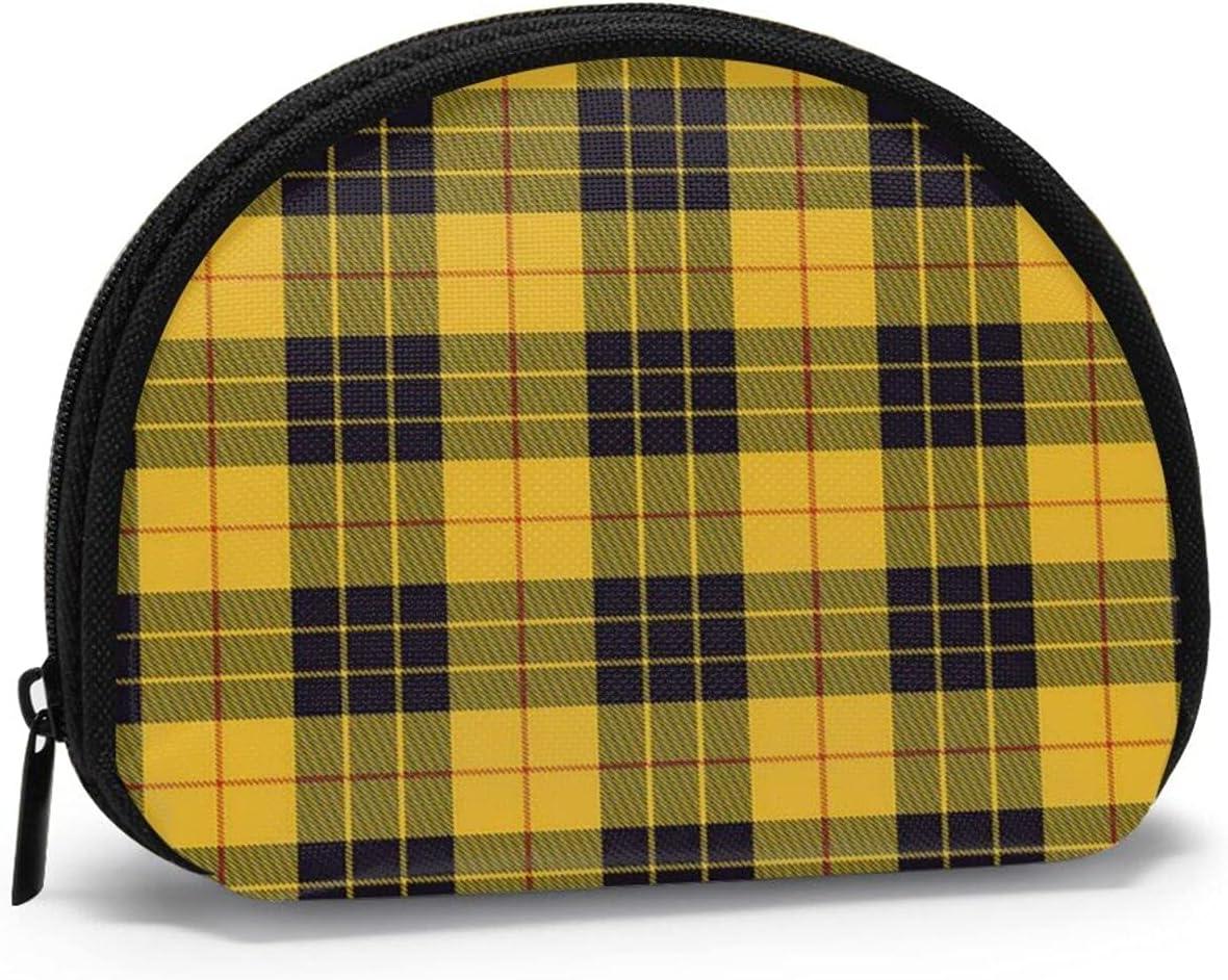 small zipper Coin Purses Vintage zipper Pouch Change Purse Wallets Black Yellow Clan Macleod Of Lewis Tartan